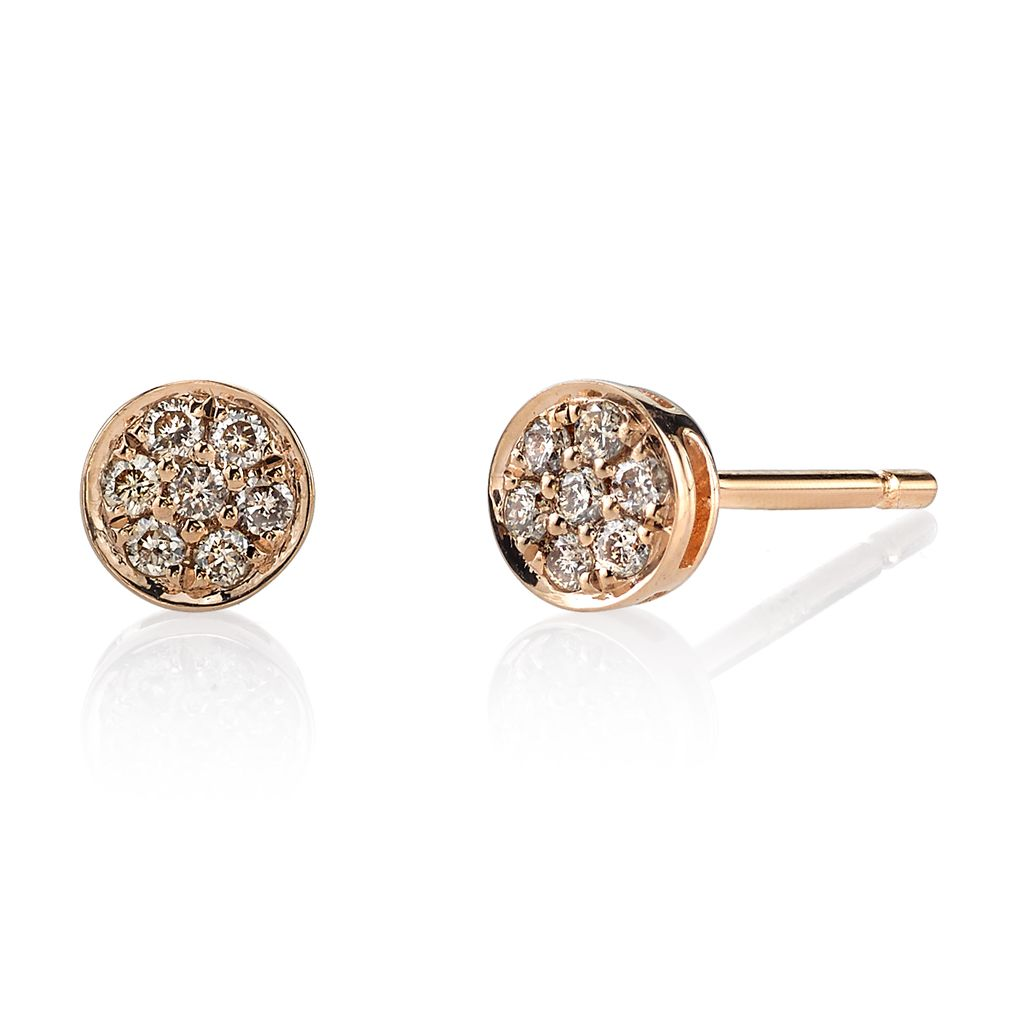 18K Rose Gold, Small Pave Brown Diamond Rose Cut Studs<br />.18cts brown diamonds
