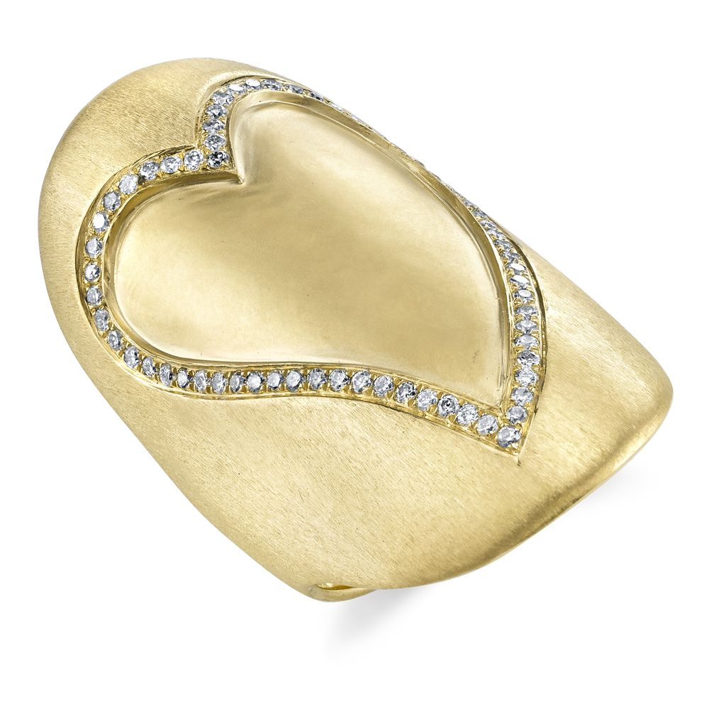 18k Yellow Gold Diamond Heart Shield Ring<br />