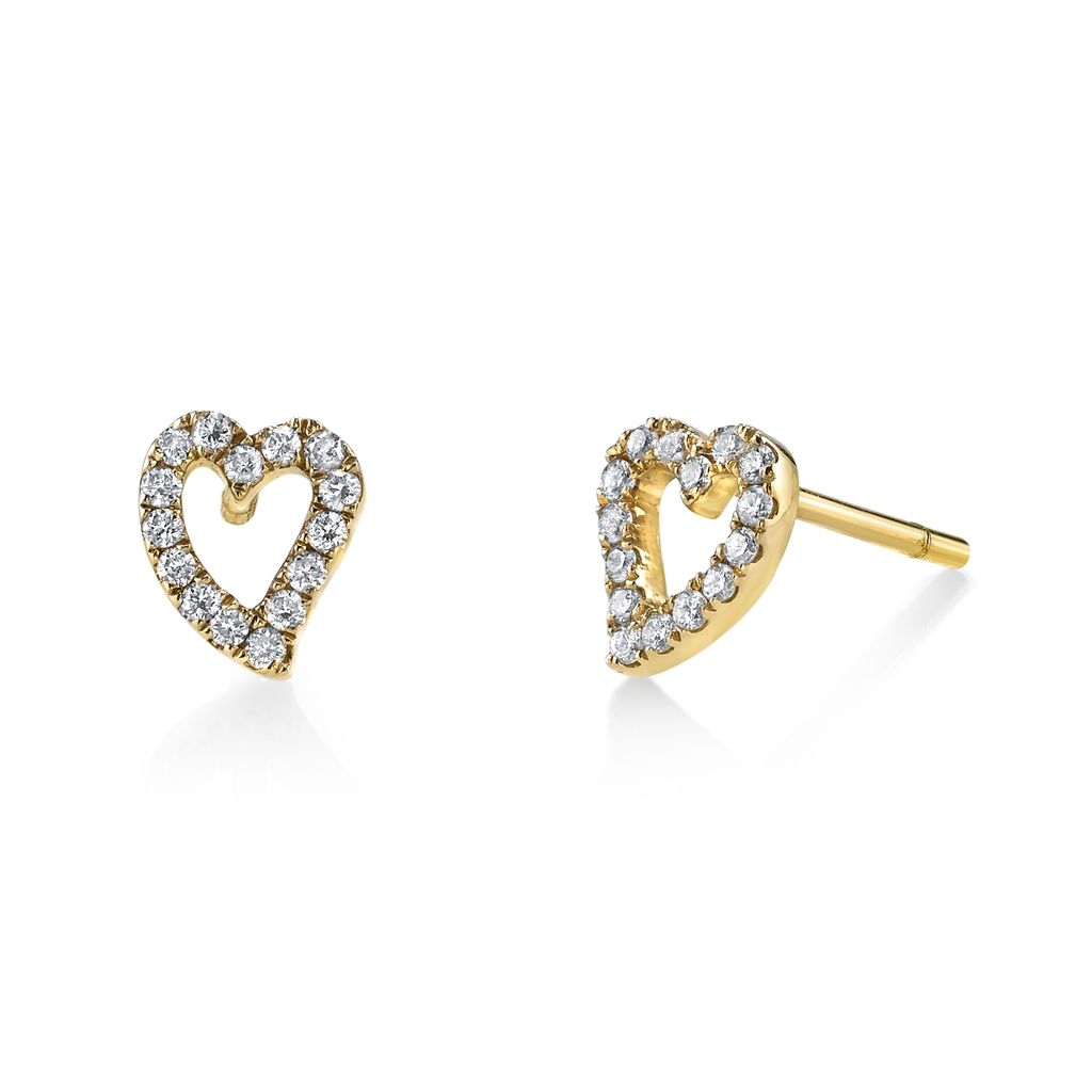 18K Yellow Gold, Small Pave Diamond Heart Studs<br />