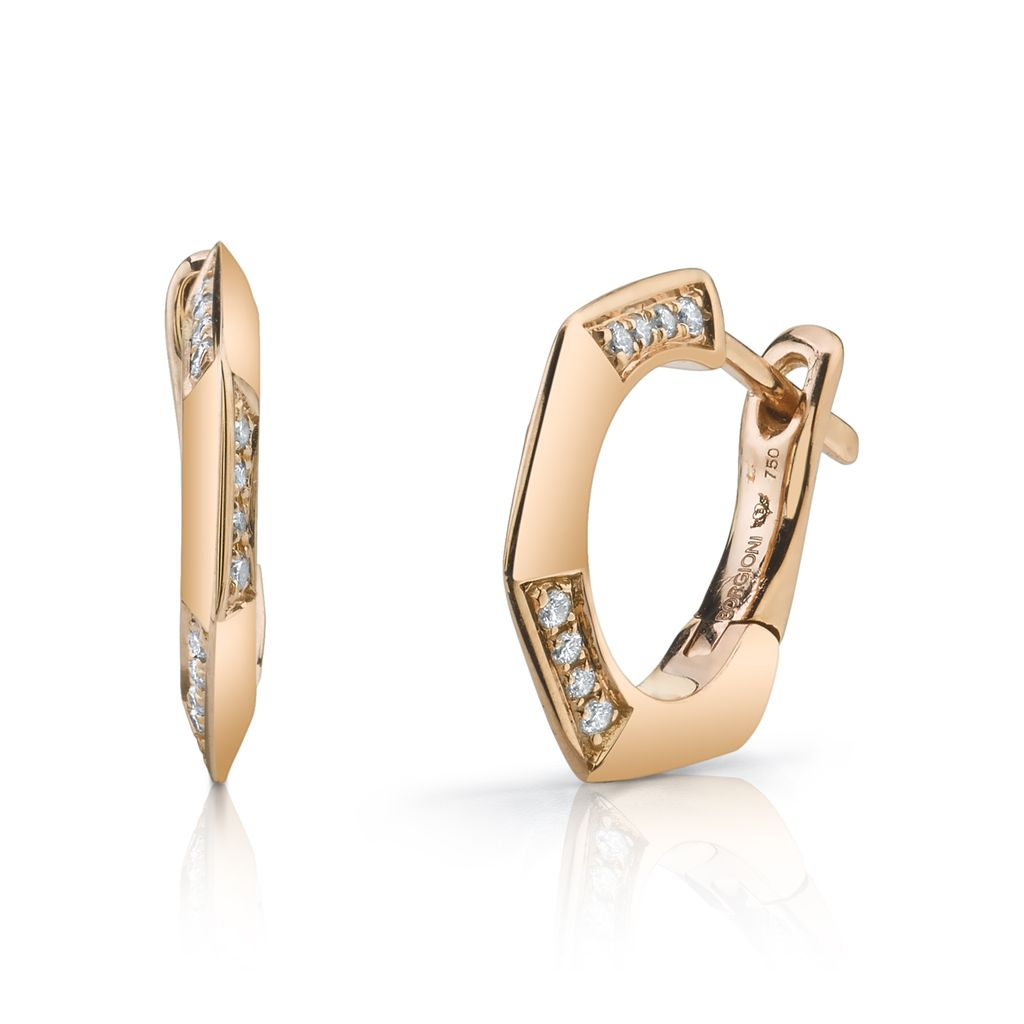 18K Rose Gold, Diamond Hex Huggies<br />.15cts diamonds