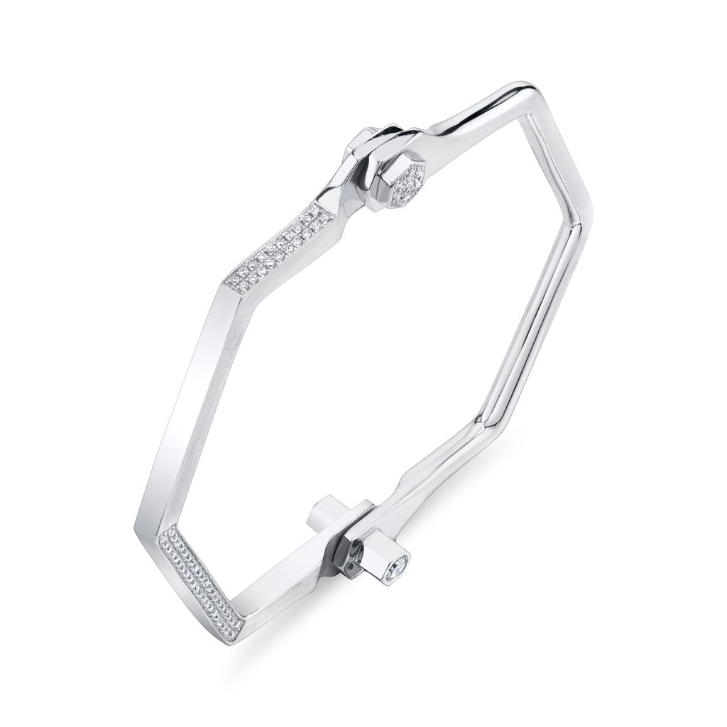 18K White Gold, Pave Hexagon Handcuff W/ White Diamonds<br />