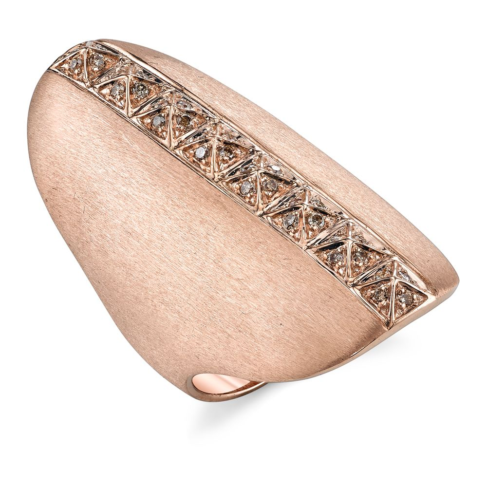18K Rose Gold Pave Brown Diamond Pyramid Shield Ring<br />