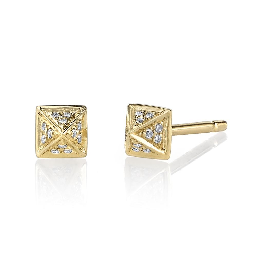 18K Yellow Gold, Small Pave Diamond Pyramid Studs <br />