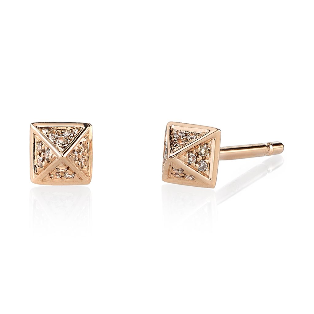 18K Rose Gold, Small Pave Brown Diamond Pyramid Studs<br />