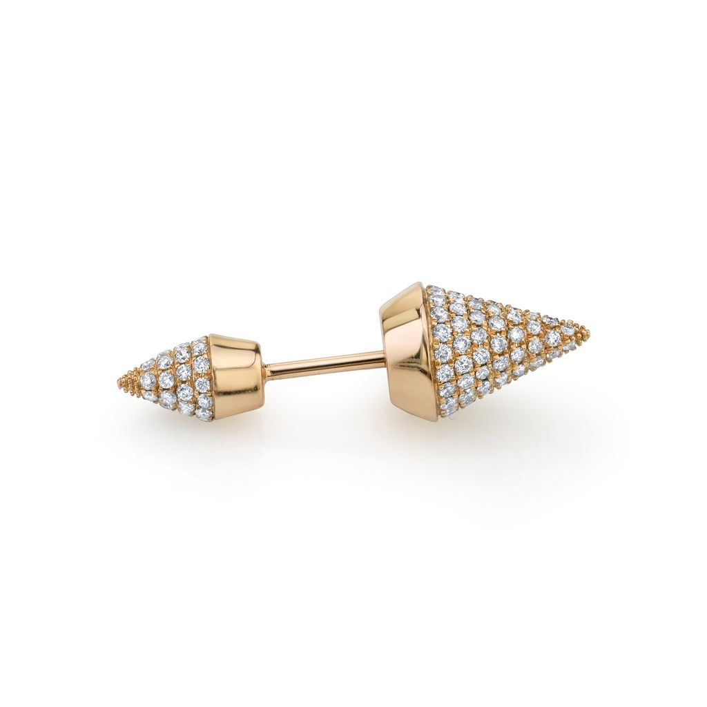 18K Rose Gold, Pave Diamond Double Spike Stud<br />