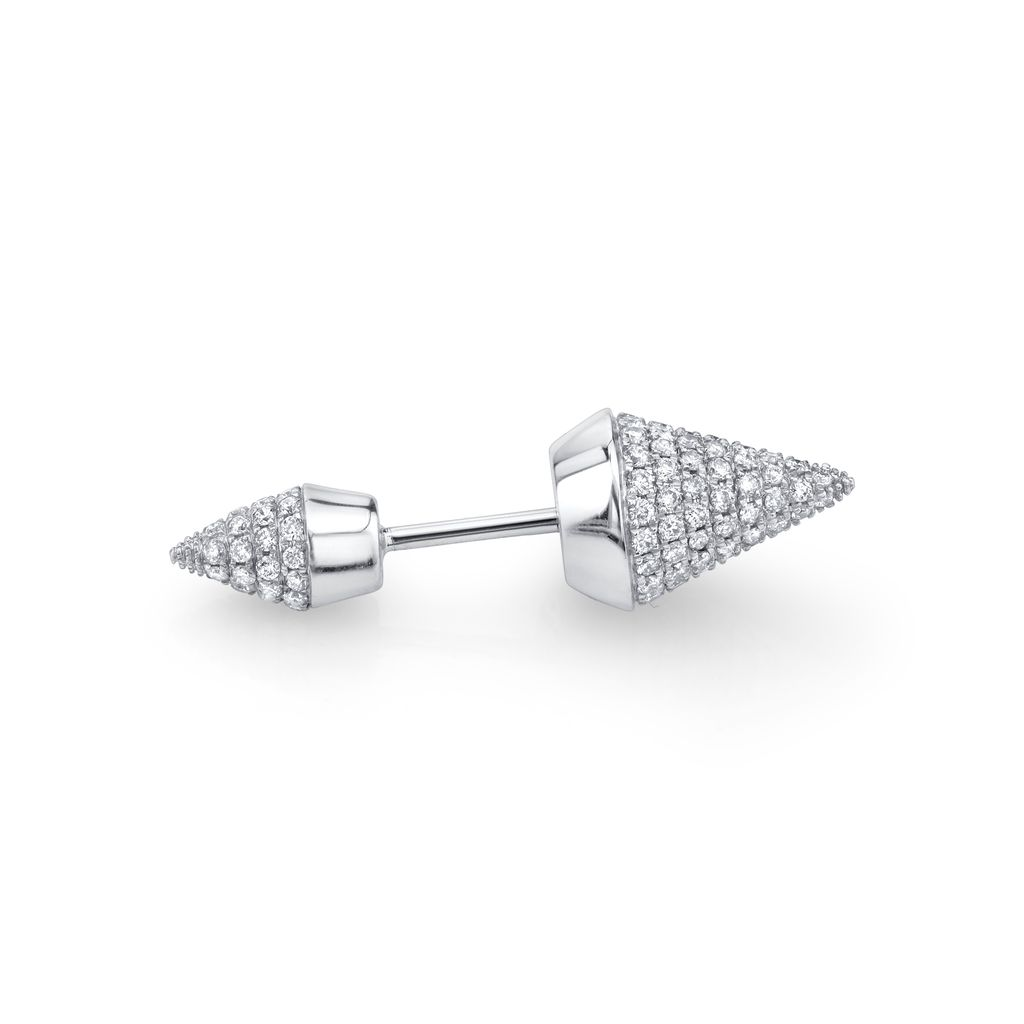 18K White Gold, Pave Diamond Double Spike Stud<br />