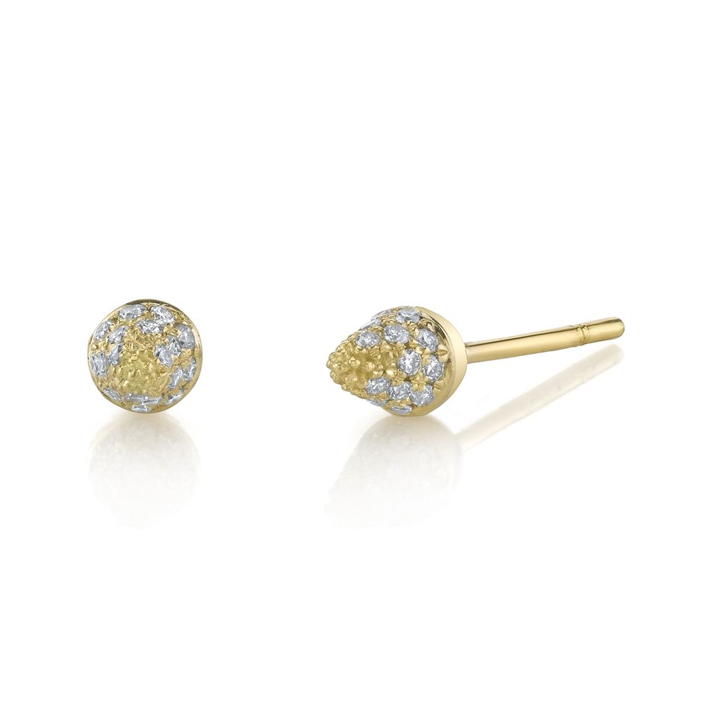 18K Yellow Gold, Mini Pave Diamond Spike Studs<br />