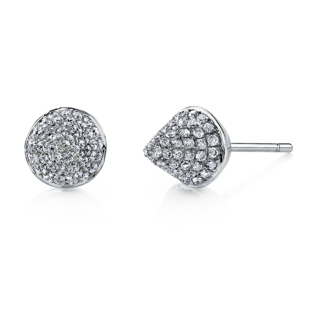 18K White Gold, Pave Diamond Spike Studs<br />