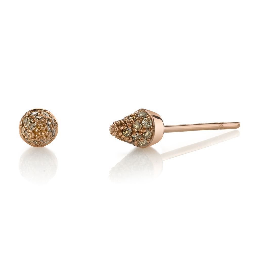 18K Rose Gold, Small Pave Brown Diamond Spike Studs<br />