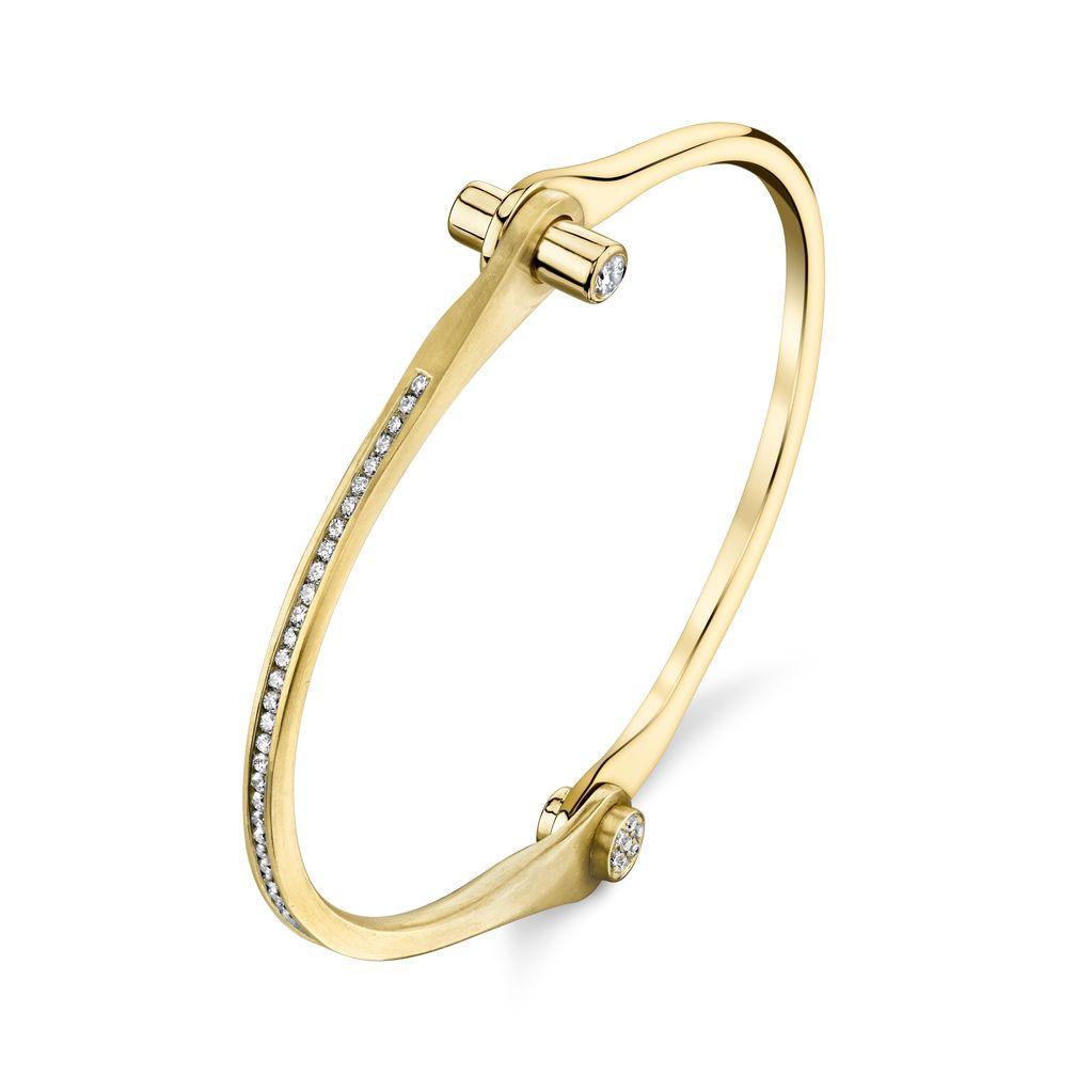 18K Yellow Gold Pave Skinny Handcuff w/ White Diamonds.75cts. diamond