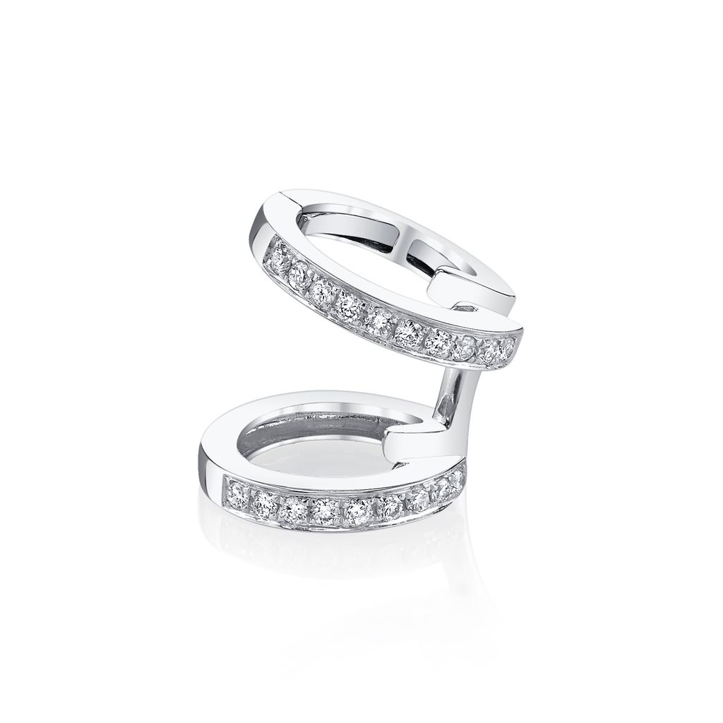18K White Gold, Pave Diamond Multi Earcuff.18cts diamonds