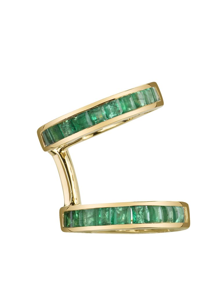 18K Yellow Gold, Emerald Baguette Multi Earcuff1.15cts emeralds