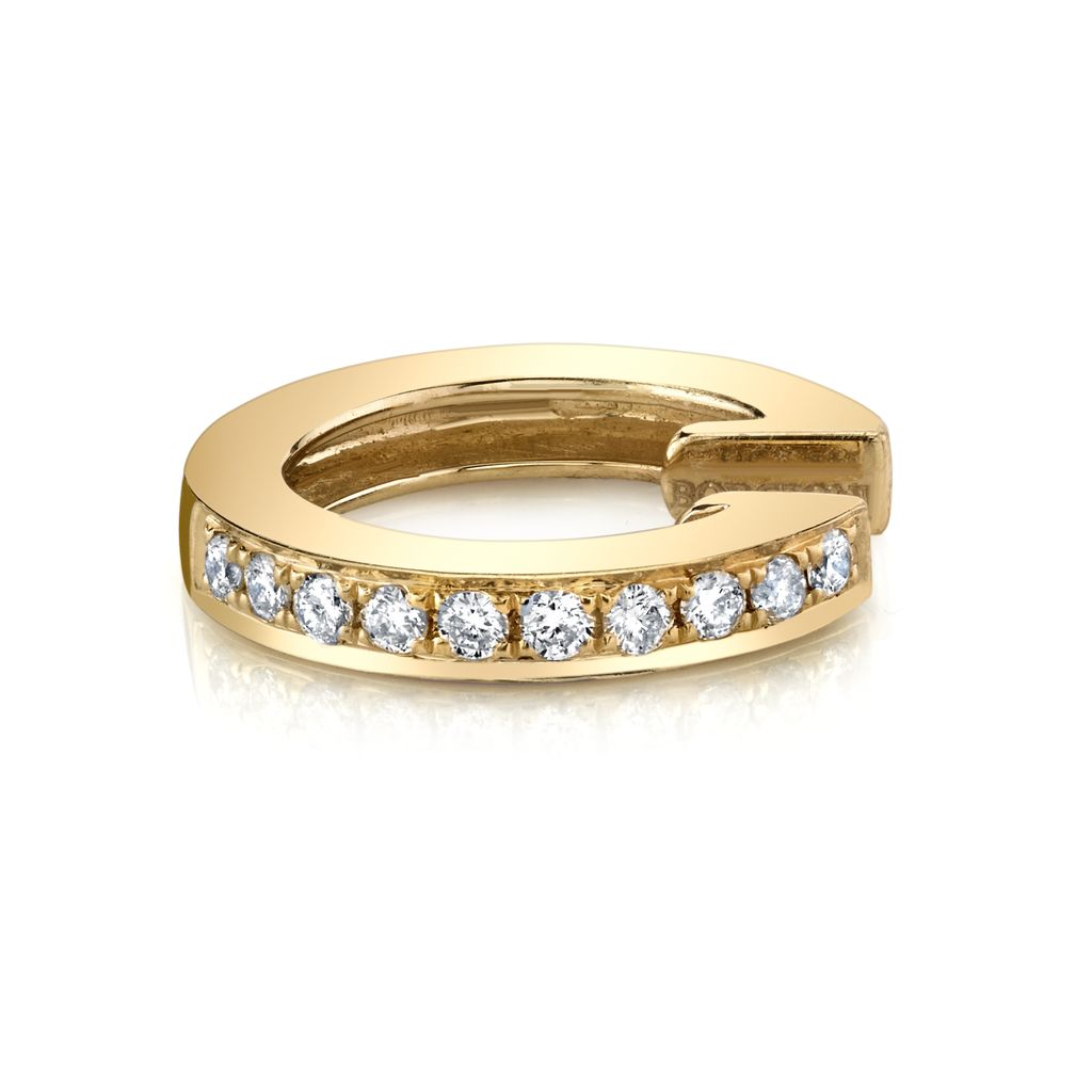 18K Yellow Gold, Pave Diamond  Earcuff<br />