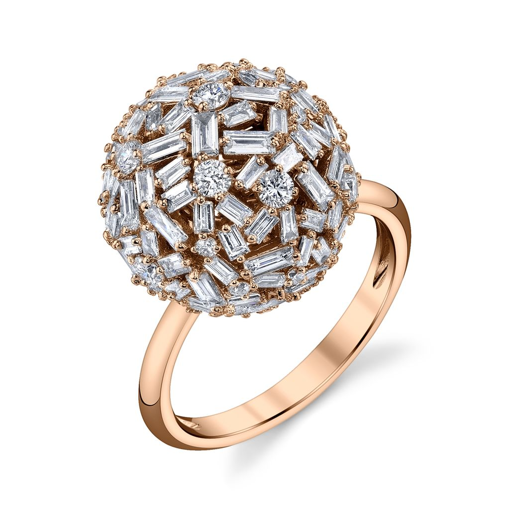 18K Rose Gold Large Pave Mixed Cut Diamond Ball Ring<br /> 3.61cts diamonds