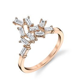 Baguette Cluster Knuckle Ring