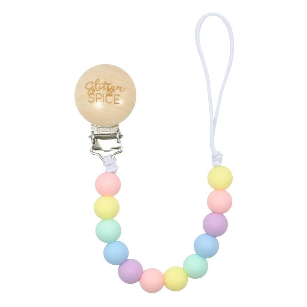 Glitter & Spice Pacifier Clip - Rainbow