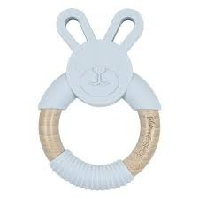 Glitter & Spice Wooden Bunny Teether- Grey