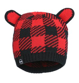 Kombi The Cutie Animal Ears Infant's Beanie Red Buffalo Plaid