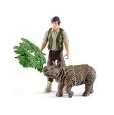 Schleich Ranger and Indian rhinoceros starter set