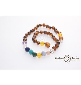 Healing Amber Caramel Amber & Gemstone Medley 11 Inch