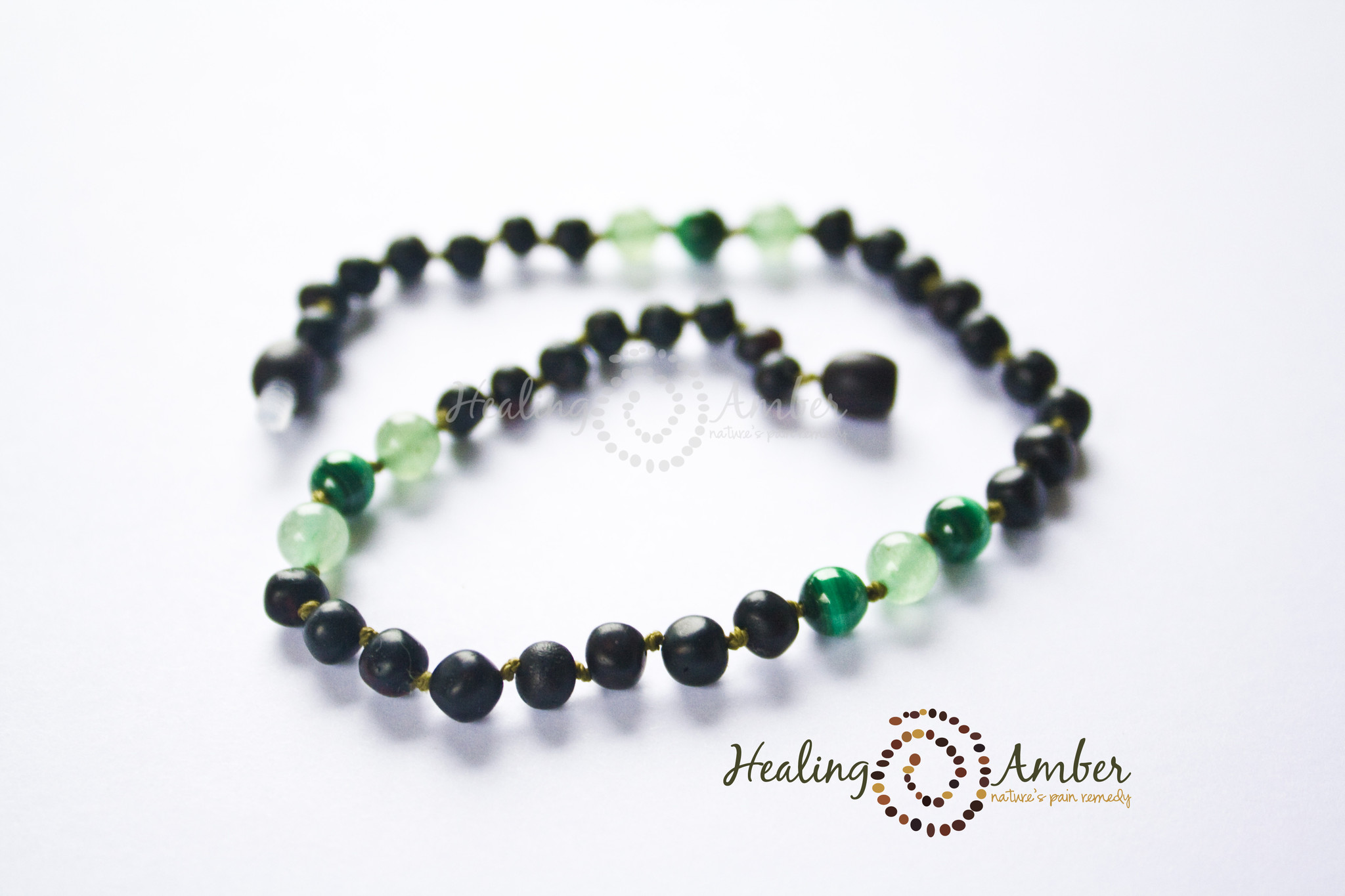 Healing Amber Raw Molasses & Green Aventurine/Malachite 11 Inch
