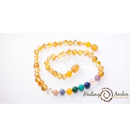 Healing Amber Caramel Amber & Gemstone Medley 13 Inch
