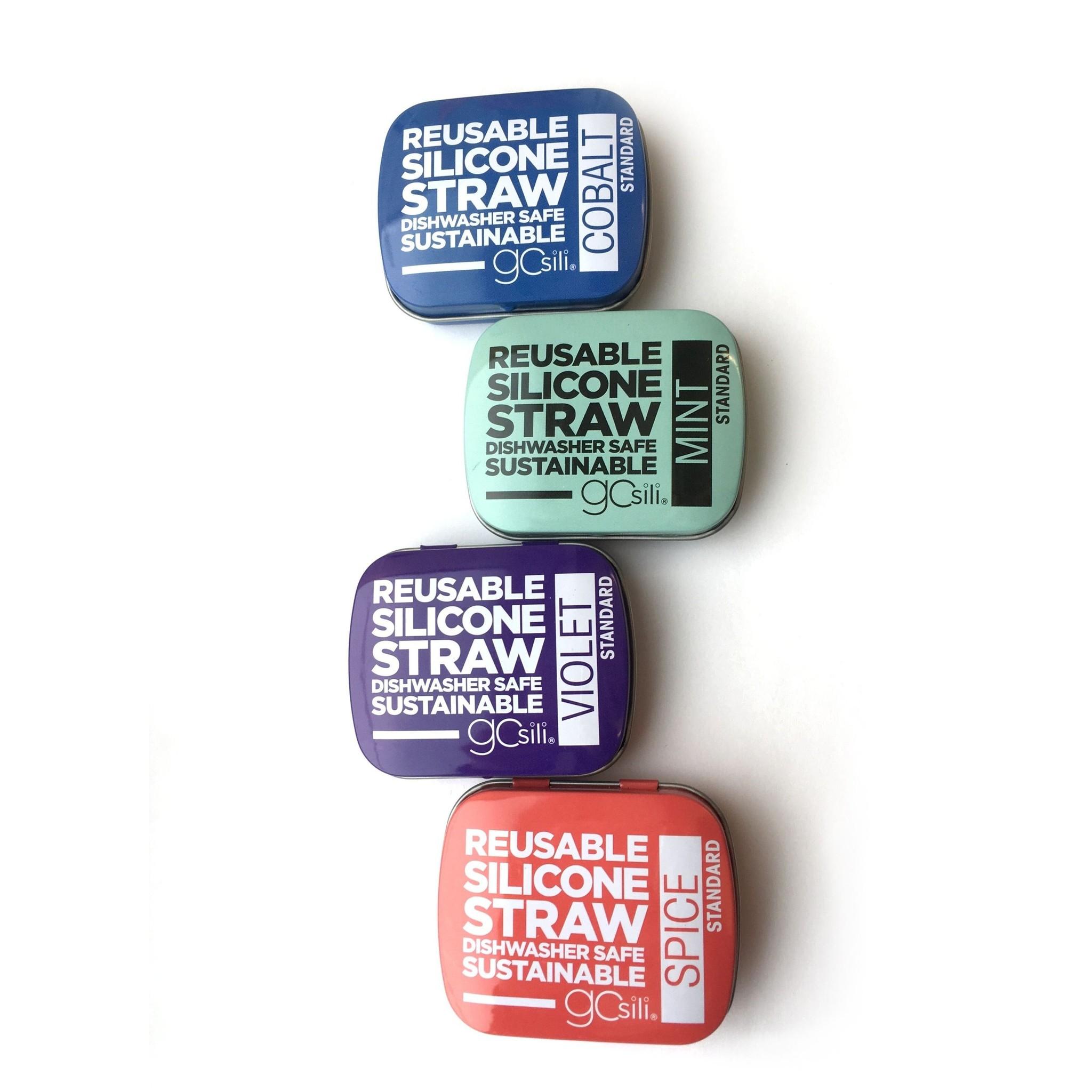 Single Reusable Silicone Straws in Tin POP