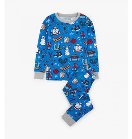 Navy Winter Traditions Kids PJ Set