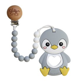 Glitter & Spice Penguin Teether with Clip