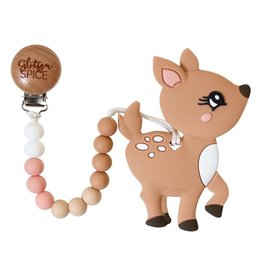 Glitter & Spice Deer Teether with Clip
