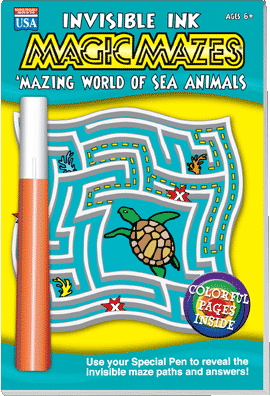 Lee Publications Invisible Ink Magic Mazes Sea Animals