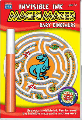 Lee Publications Invisible Ink Magic Mazes Baby Dinosaurs