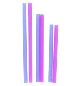 GoSili Silicone Straws 6pk - Berry/Cobalt