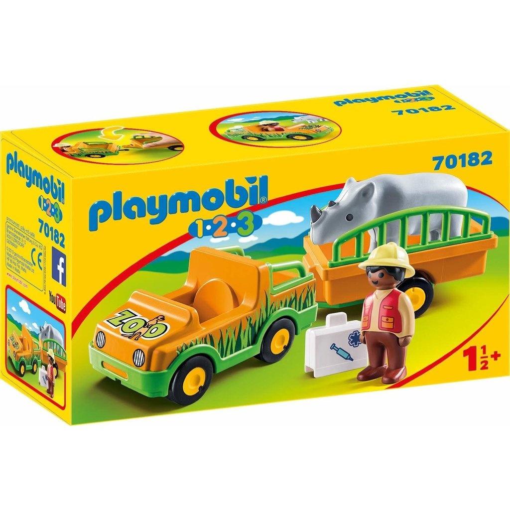 Playmobil 1.2.3 Zoo Vehicle with Rhinoceros