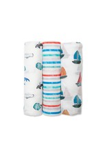 Lulujo Swaddle Blanket Bamboo Cotton 3pk - Out At Sea