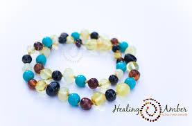 Healing Amber Multi Amber & Turquoise Gemstone 11 Inch