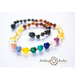 Healing Amber Rainbow Amber and Gemstone Medley 20 Inch