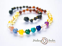 Healing Amber Rainbow Amber and Gemstone Medley 11 inch