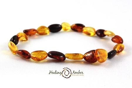 Healing Amber Multi Oval Stretch Bracelet 9 inch