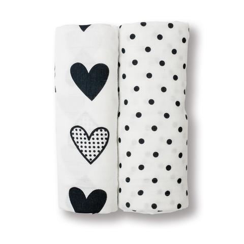 Lulujo Lulujo 2pk Swaddle Blankets Hearts & Dots