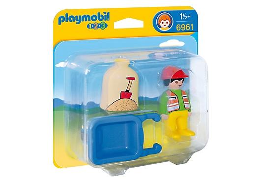 Playmobil 1.2.3. Worker with Wheelbarrow