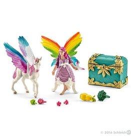 Schleich Rainbow Elf Lis with Pegasus Unicorn Foal (41440)