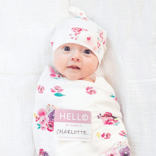 Lulujo Hello World Blanket+Hat -  Posies