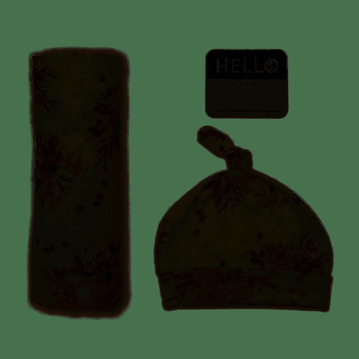 Lulujo Hello World Blanket+Hat - Black Floral