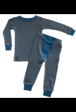 Wee Woolies Charcoal/Swell Merino PJ/Base Layer Set
