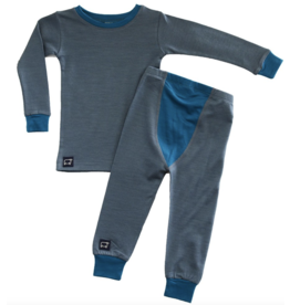 Wee Woolies Charcoal/Swell Merino PJ/Base Layer Set