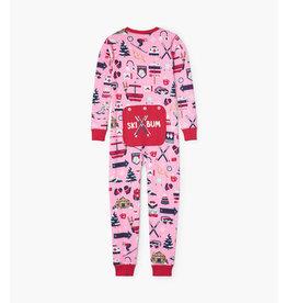 Pink Ski Holiday Kids Union Set