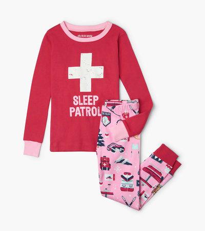 Pink Ski Holiday Kids Applique Pajama Set