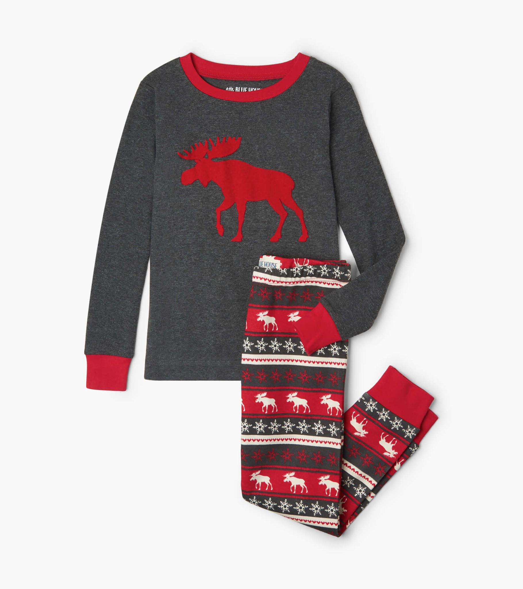 Moose Fair Isle Kids Applique Pajama Set