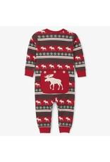 Fair Isle Moose Baby Union Suit Set